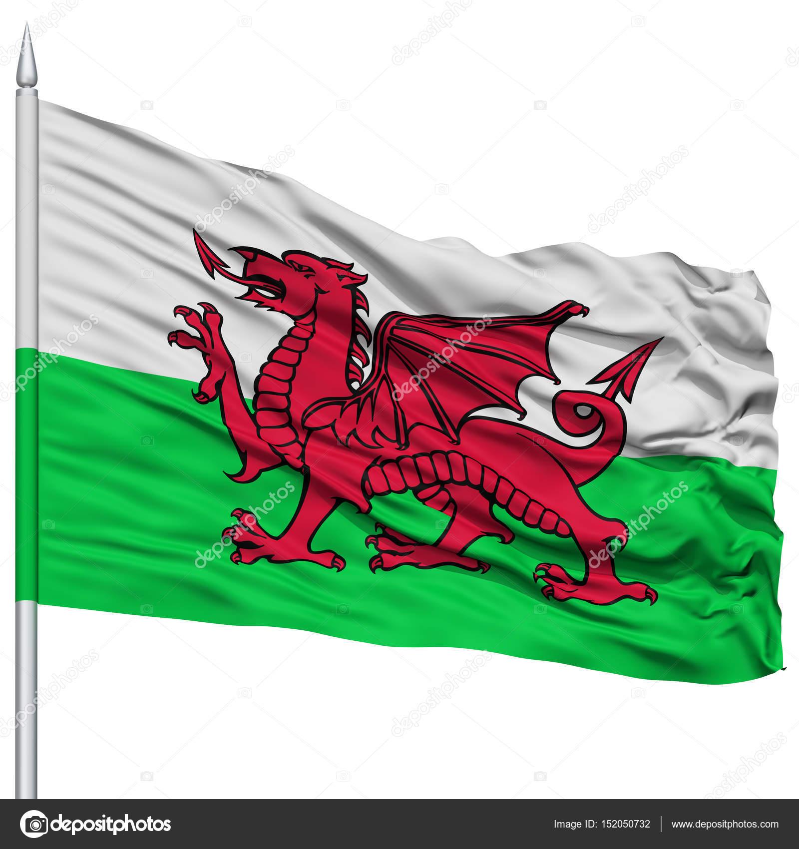 Bandera de país de Gales en el asta de la bandera — Fotos de Stock ...