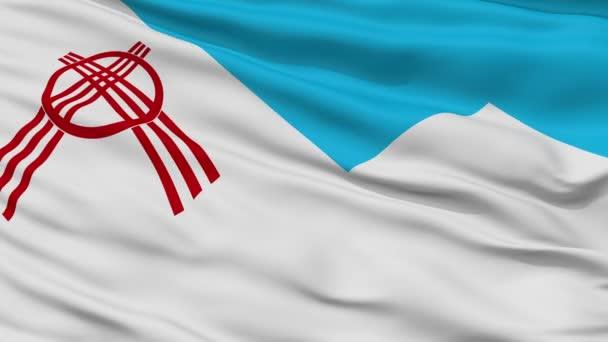 Closeup Osh city flag, Kyrgyzstan