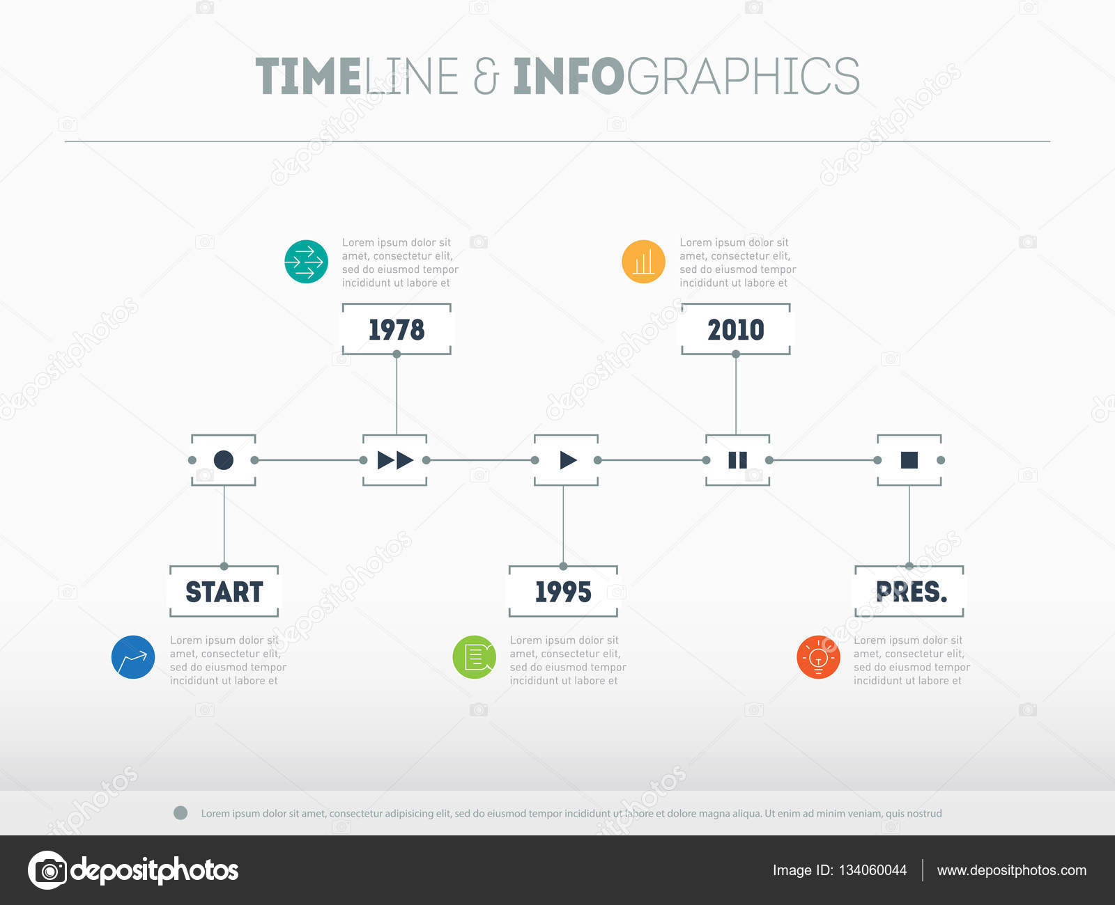 Business infographic timeline with options — Stock Vector