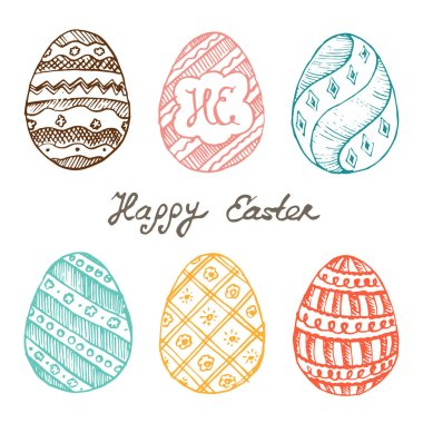 greeting card with varicolored painted eggs