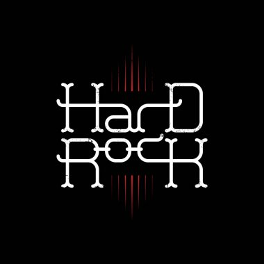 Hard Rock, Modern original lettering with red fire. Music Vector print for flyer, advertising leaflet or poster. clip art vector