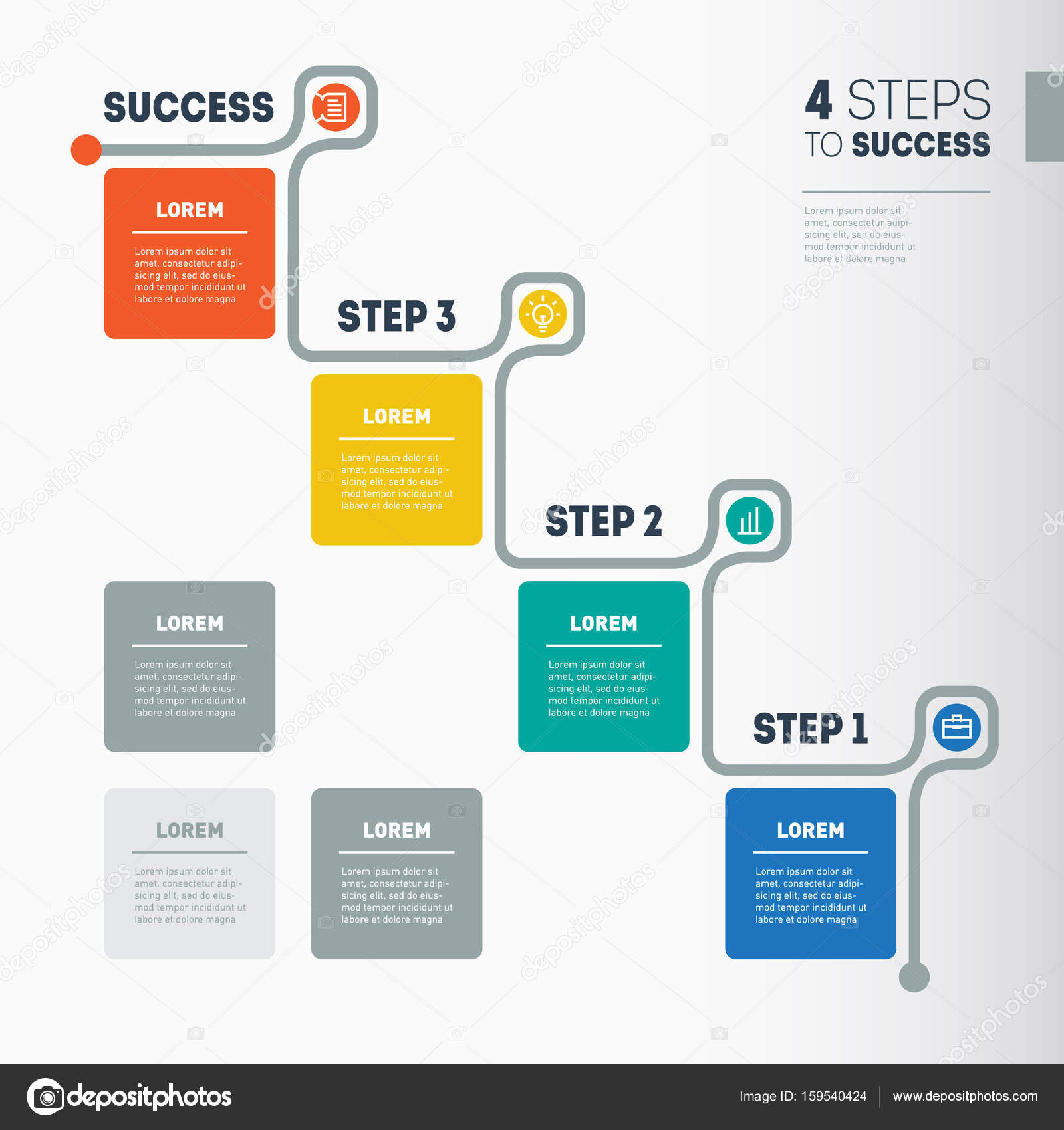 Web Template Of A Info Chart Diagram Stock Vector - Timeline website template
