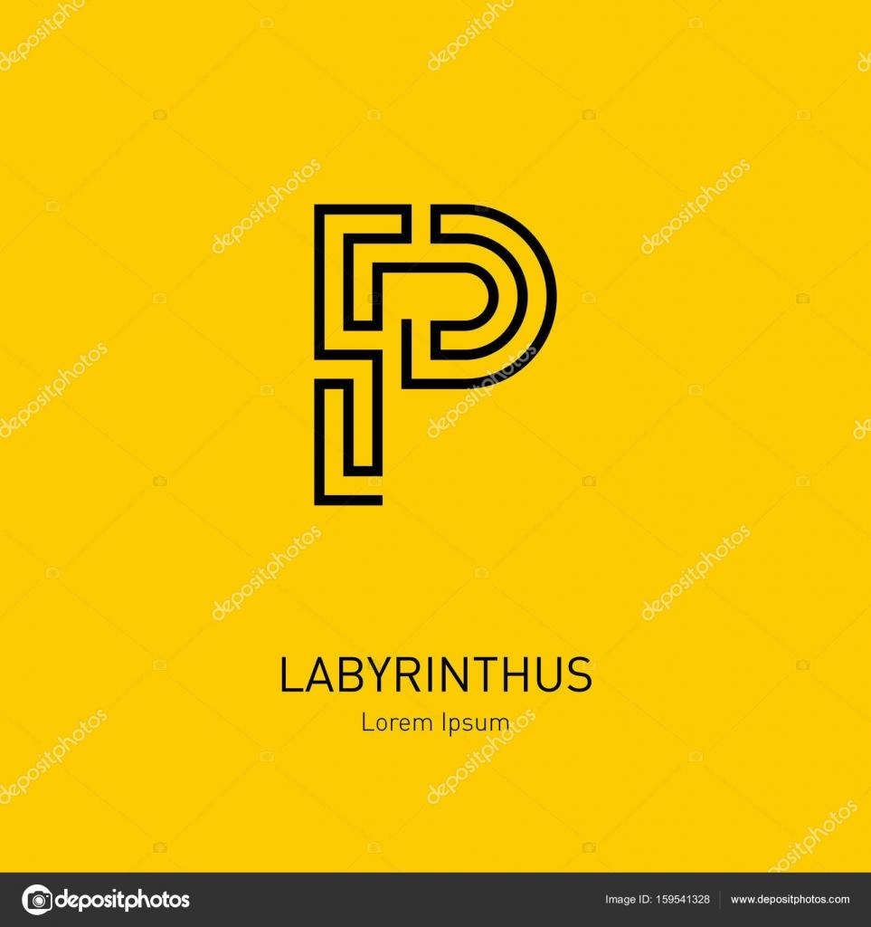 Plantilla de logotipo de letra de laberinto — Archivo Imágenes ...