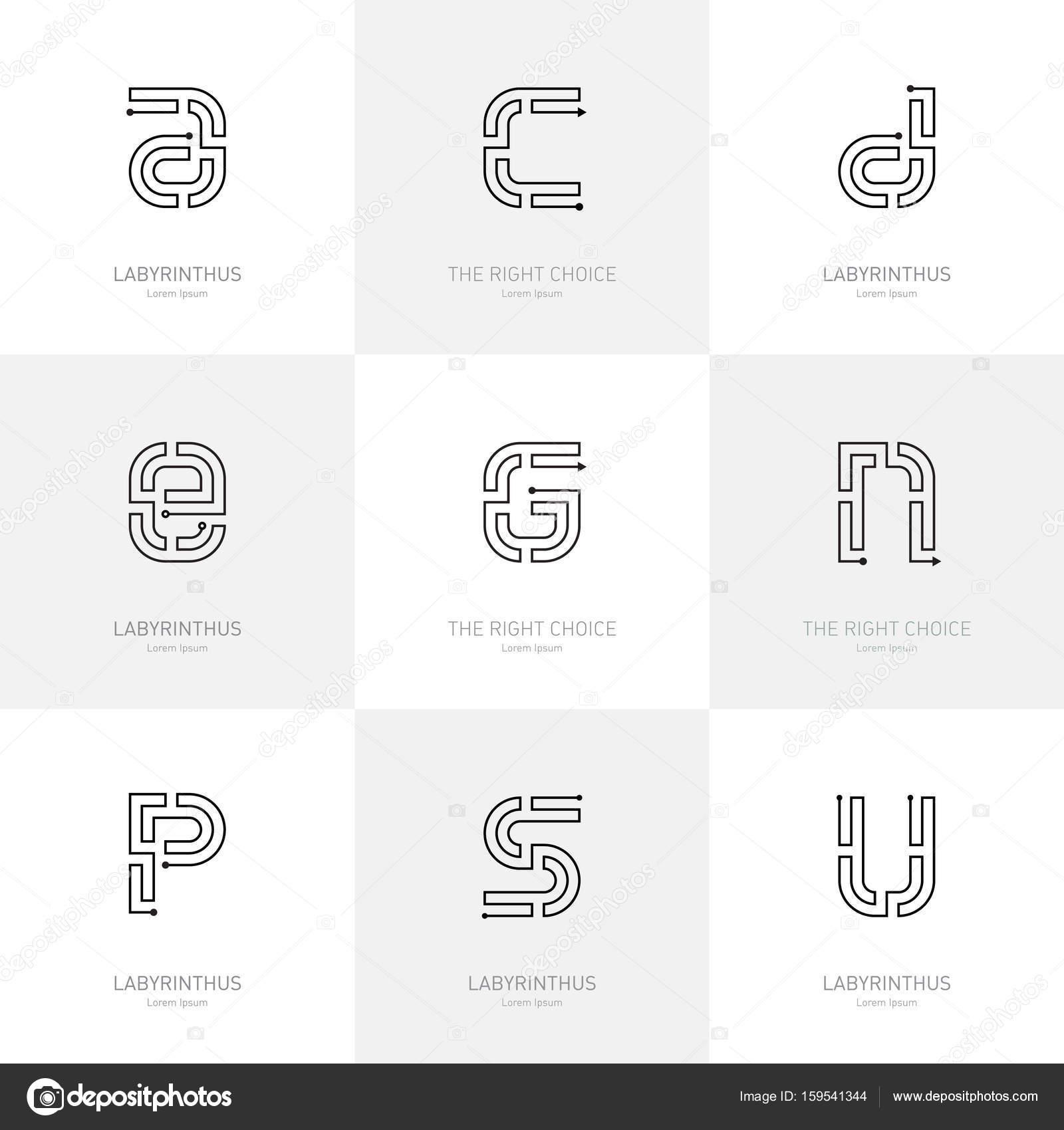 Plantilla de logotipos Letras laberinto — Archivo Imágenes ...