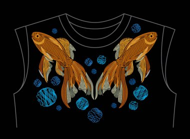 Embroidery with golden fish on neck line shirt.