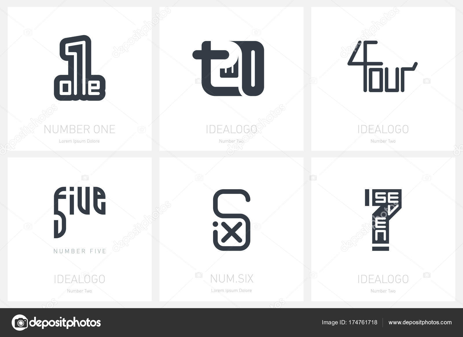 Set Logo Templates Numbers One Two Four Five Six Seven — Stock ...