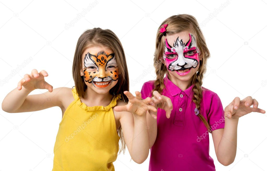 two little girls with painted faces