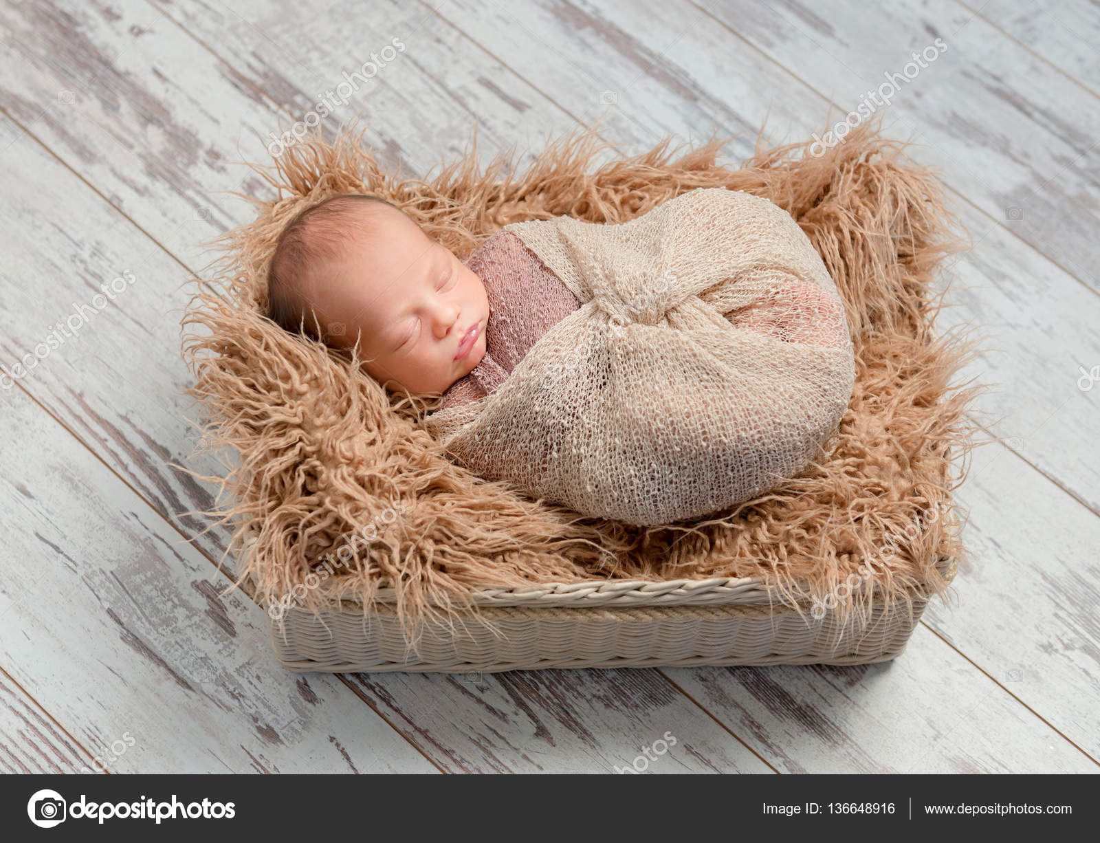 4f05358cf lovely sleeping baby wrapped in basket with fluffy blanket — Stock ...