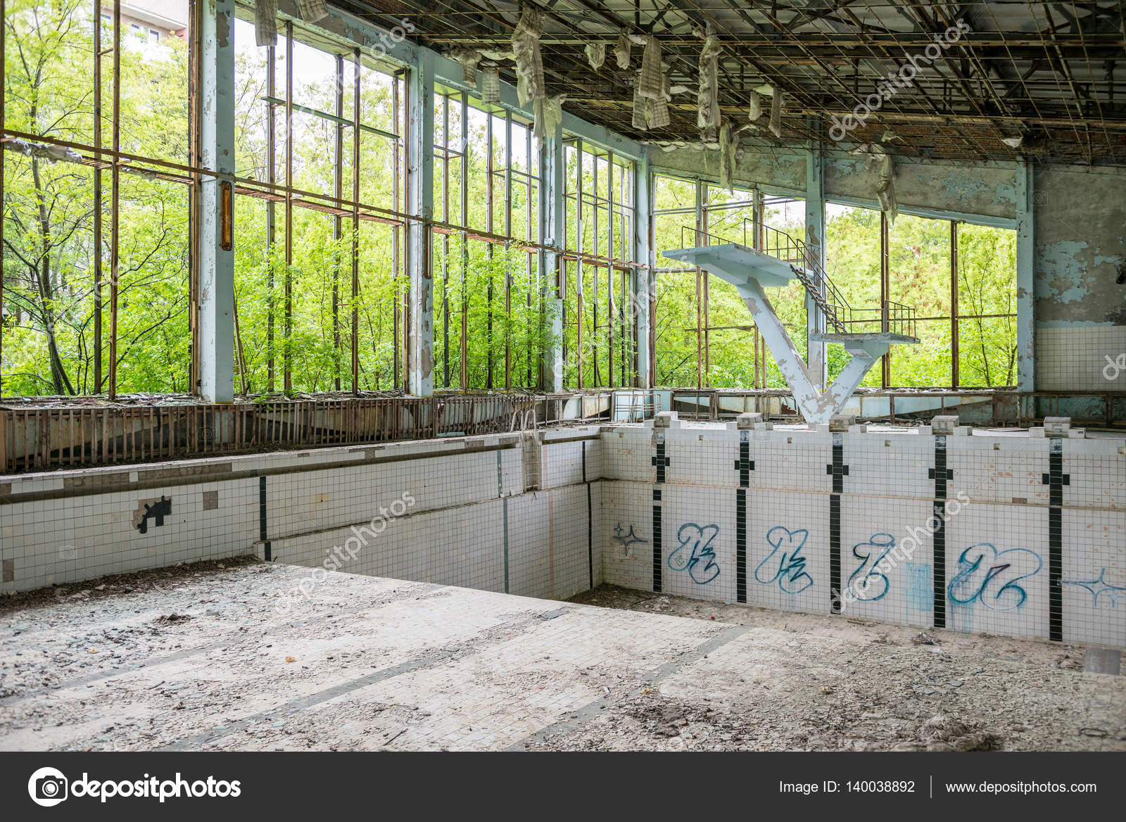 Abandoned Swimming Pool In Sports Palace Gym In Pripyat U2014 Photo By Tan4ikk
