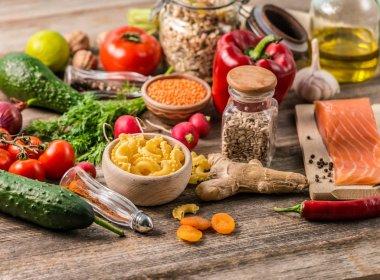 Plenty of foods, healthy organic nutritious diet
