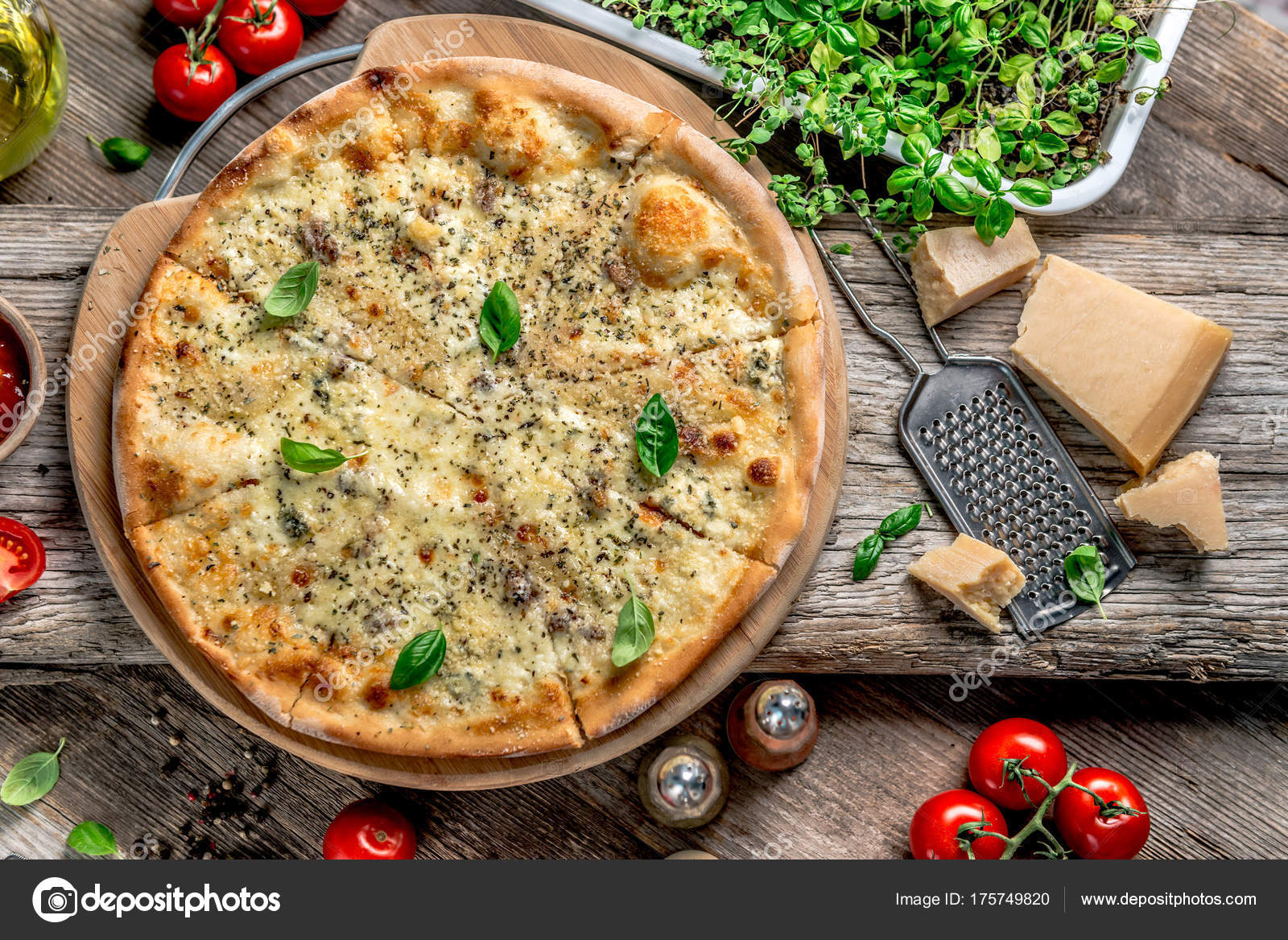 Pizza Four Cheeses On The Table U2014 Stock Photo