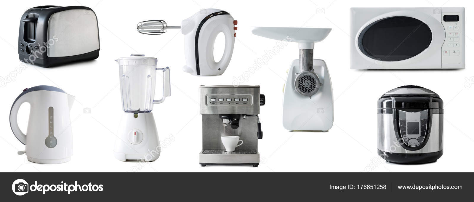 collage of different types of kitchen appliances isolated — Stock ...