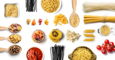 Top view of various Italian pasta