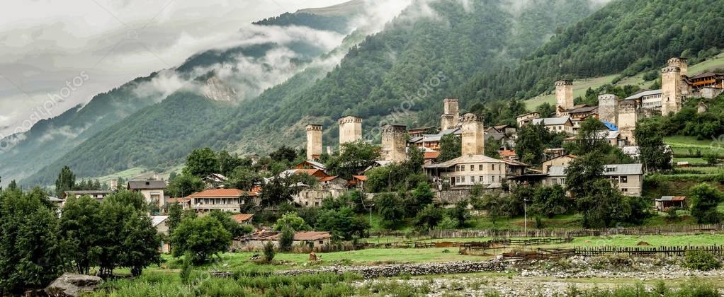Panoramic view on Mestia village, Georgia
