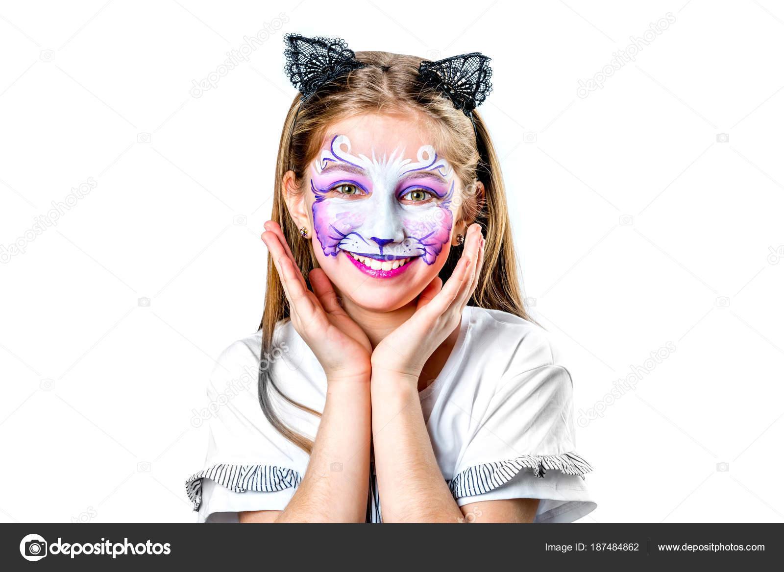 Podobizna Divenky S Cat Facepainting Stock Fotografie C Tan4ikk