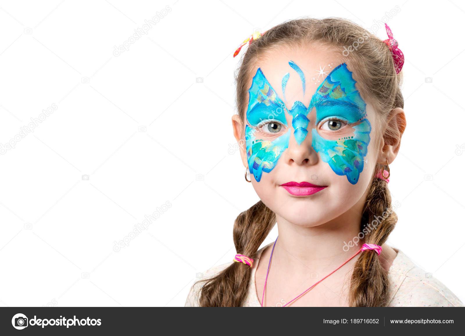 Madchen Mit Modischen Schmetterling Gesicht Kunst Stockfoto