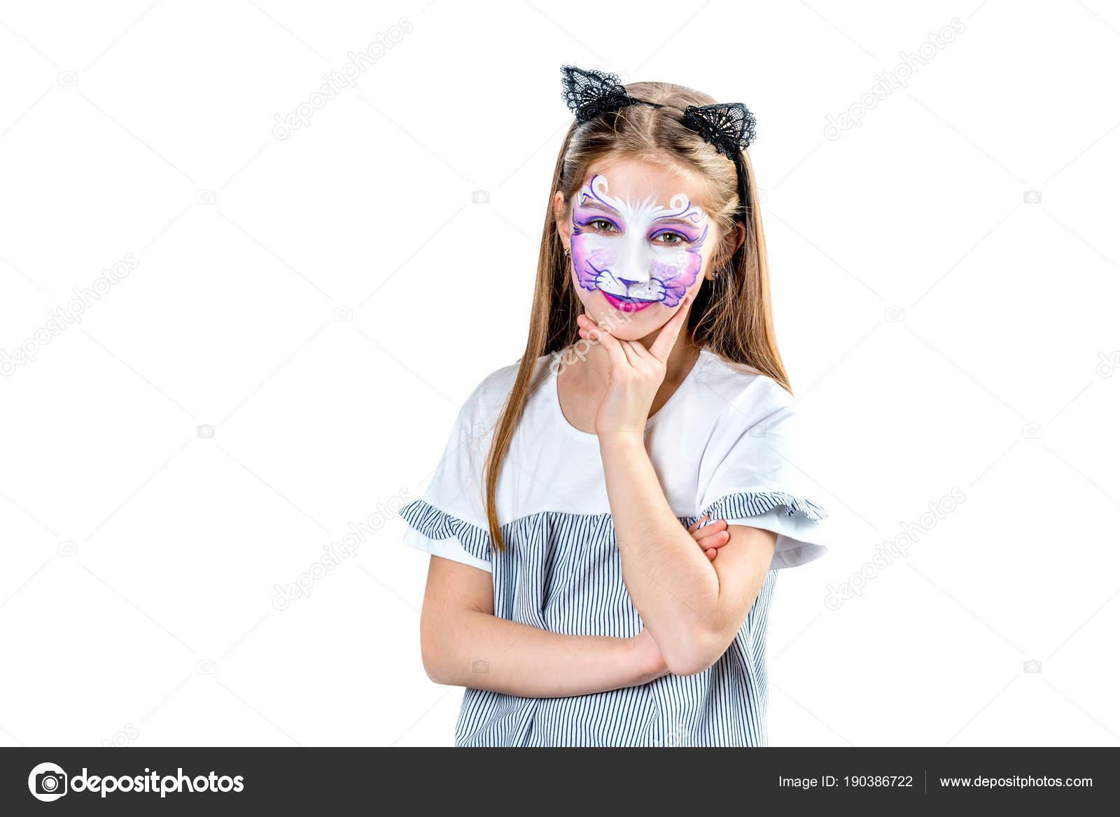 Portret Teen Dziewczyna Z Malowanie Twarzy Kota Zdjęcie Stockowe