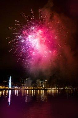 Fireworks in the night sky, Baku