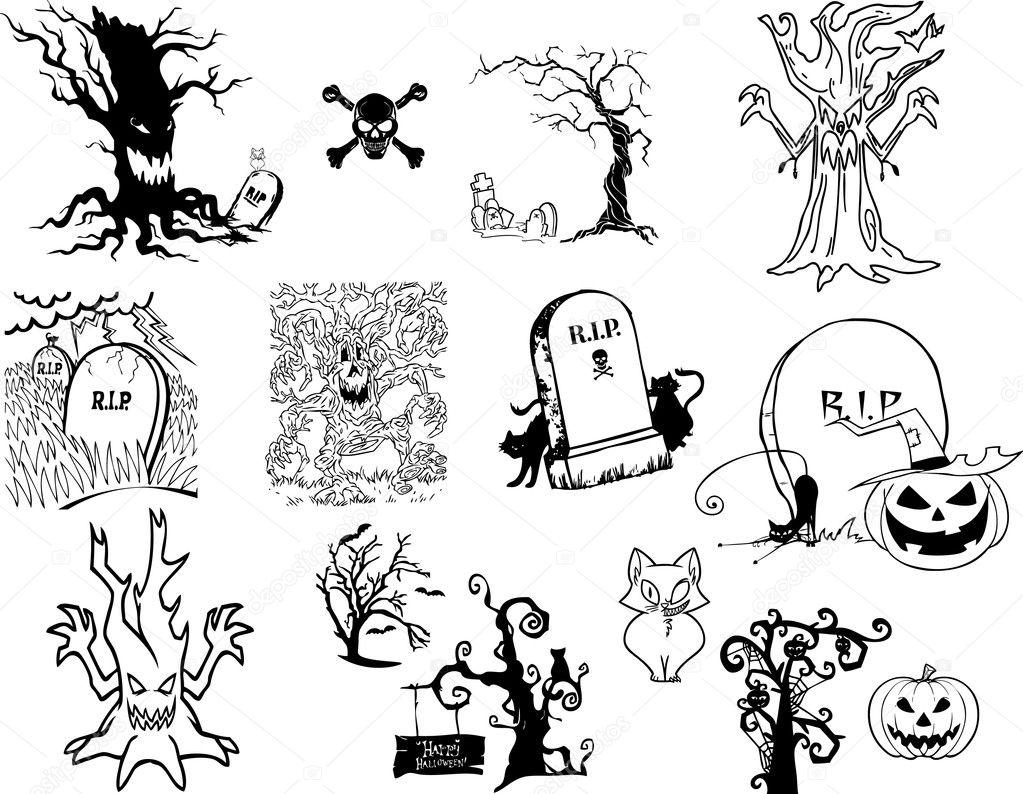 Los iconos de halloween - calabaza, árboles de miedo, fantasma ...