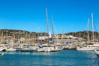 anchored yachts in Cannes port