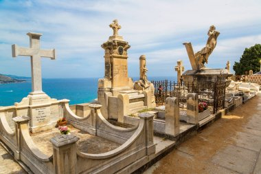 Old cemetery in Menton with panoramic view on Mediterranean sea on french Riviera in beautiful summer day stock vector