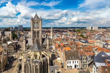 Panoramic aerial view of Gent