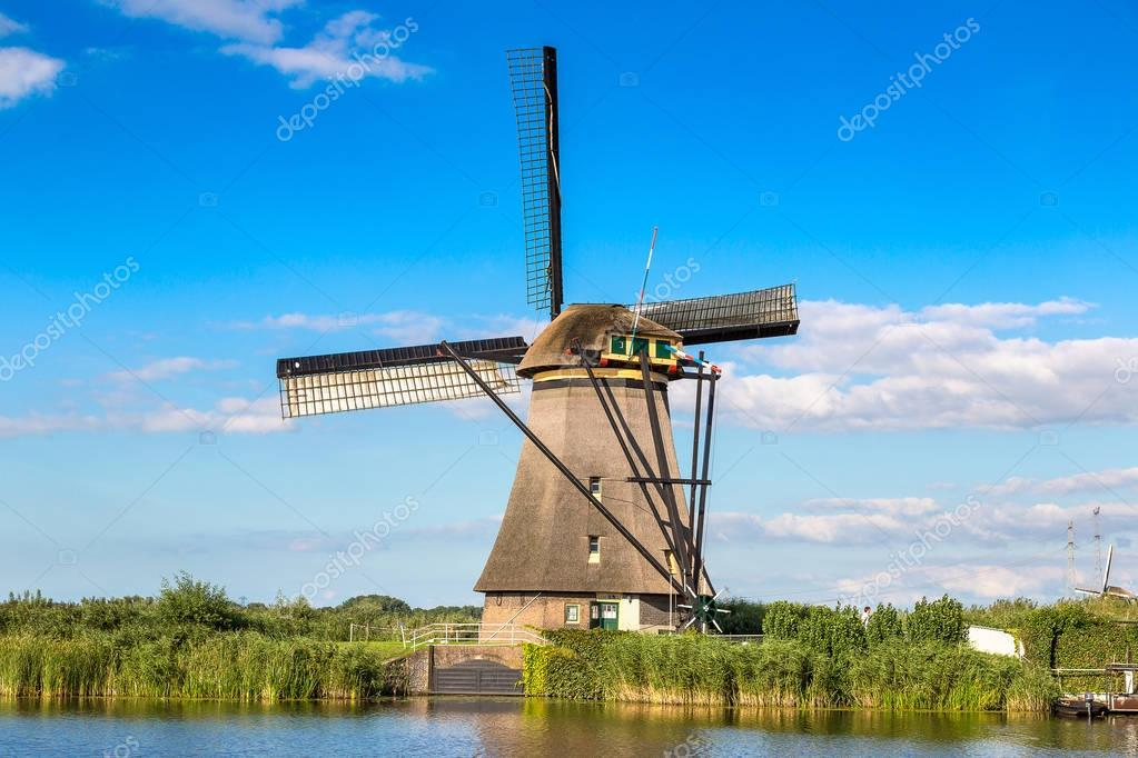 Windmill and canal in Kinderdijk