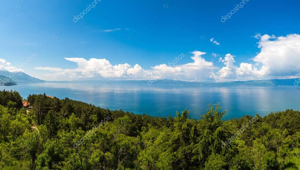 Panorama of Ohrid city and lake Ohrid