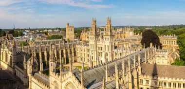 Panoramic aerial view of All Souls College
