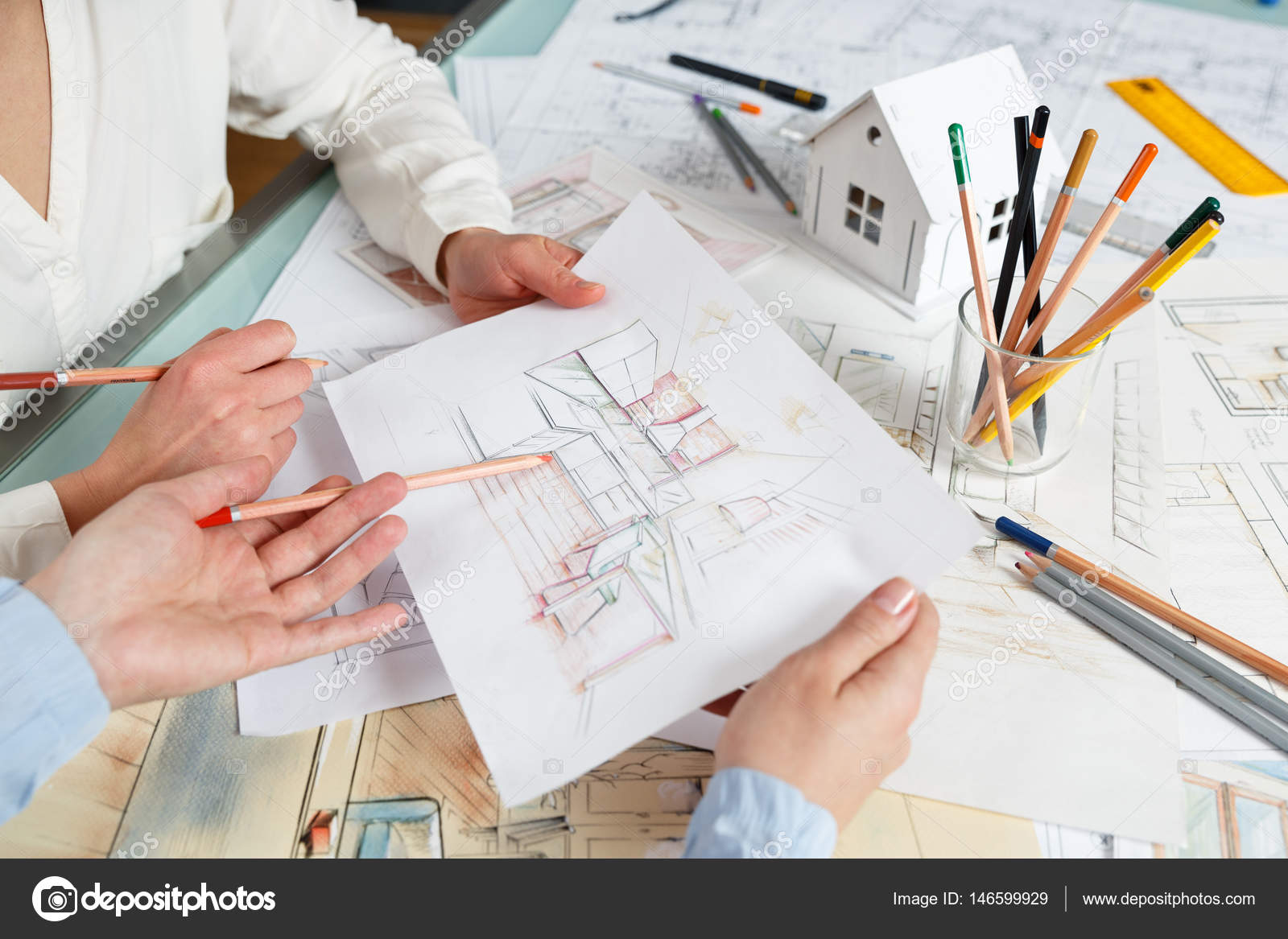 Discussion of interior hand drawings stock photo - What to major in for interior design ...