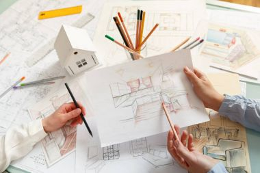 Discussion of interior hand drawings