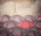 Red Umbrella in the Paris