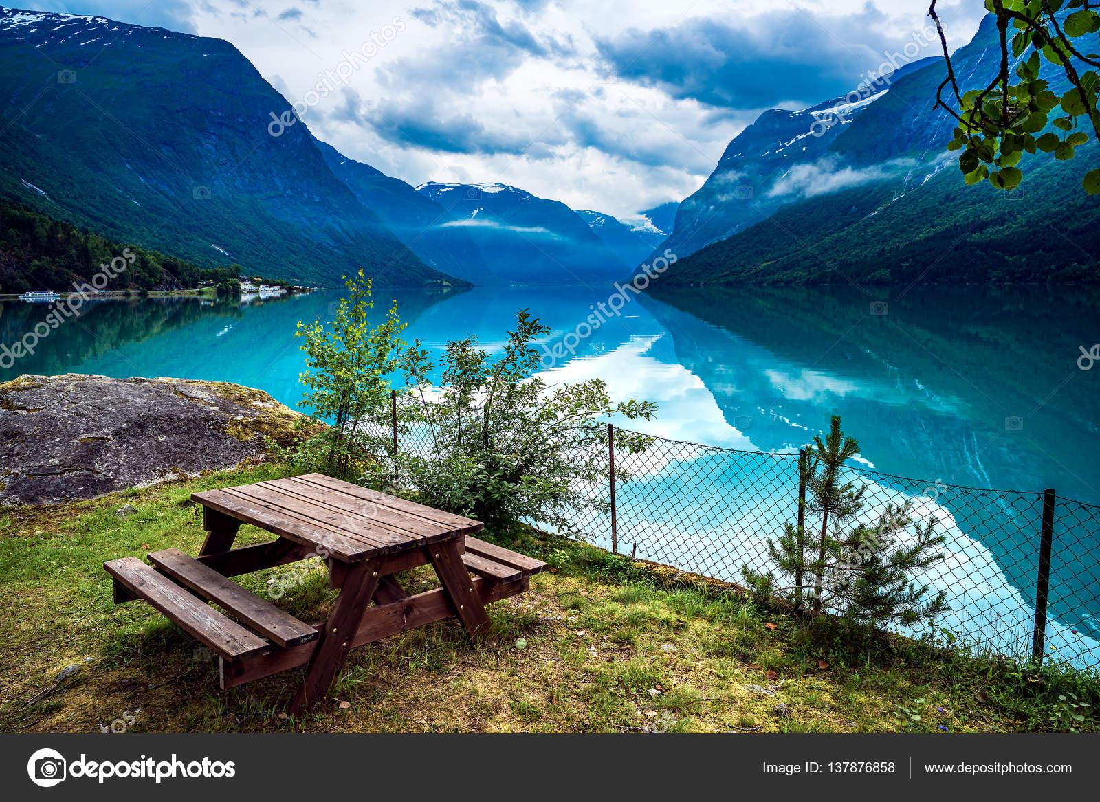 lovatnet lake beautiful nature norway. — stock photo © cookelma