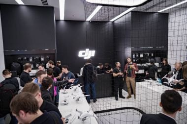 MOSCOW RUSSIA:01 APR 2017 - DJI Quadcopter Drone store opening c