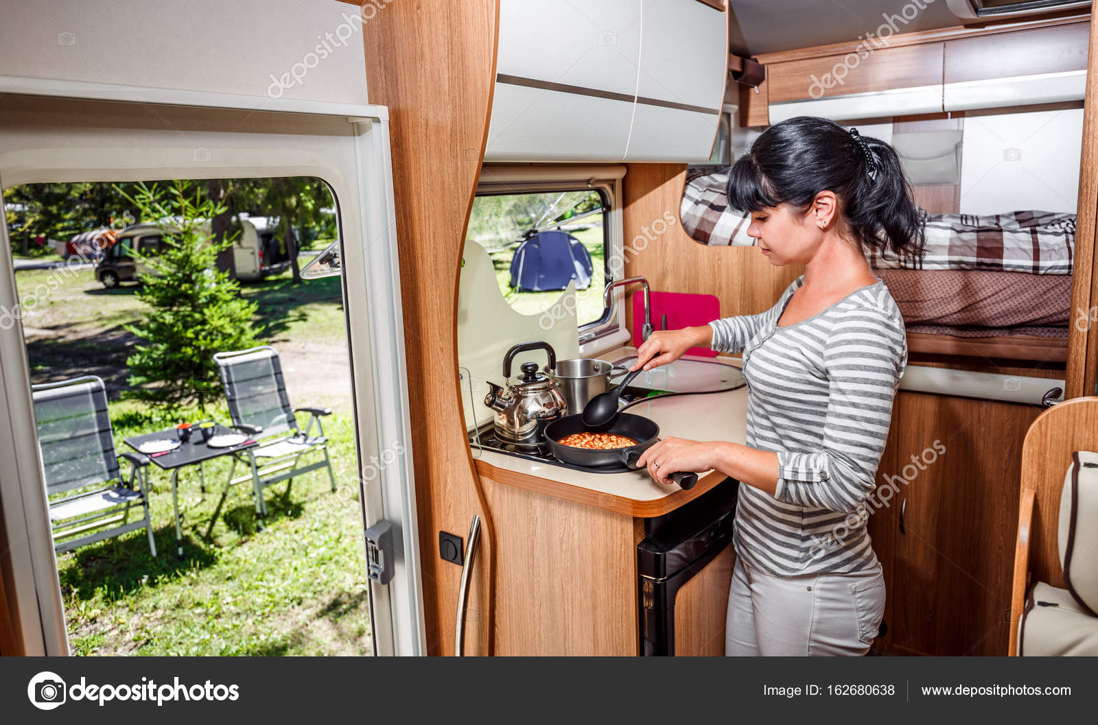 Woman Cooking In Camper, Motorhome Interior U2014 Stock Photo