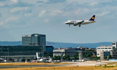 FRANKFURT,GERMANY: JUNE 23, 2017: Airbus A319 LUFTHANSA. Lufthansa, is the largest German airline and, when combined with its subsidiaries, also the largest airline in Europe stock vector