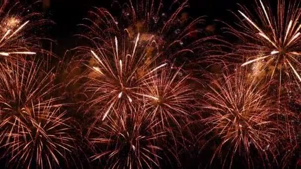 Buntes Feuerwerk explodiert am Nachthimmel. Feste und Veranstaltungen in leuchtenden Farben.