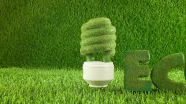 Eco light bulb in green grass. Eco concept background