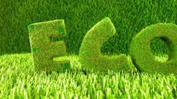 Písmena na zelené trávě. Eco koncept pozadí.