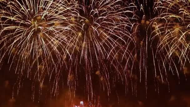 Barevný ohňostroj explodující na noční obloze. Oslavy a události v jasných barvách.