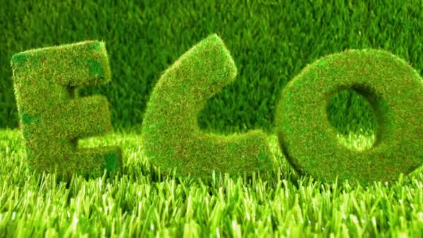 Letters on the green grass. Eco concept background.