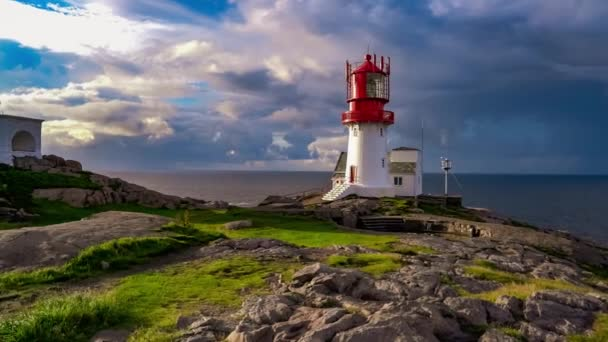 Lindesnes Fyr Lighthouse, Beautiful Nature Norway natural landscape footage.