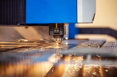 CNC Laser cutting of metal modern industrial technology. Laser cutting works by directing the output of a high-power laser through optics. Laser optics and CNC computer numerical control. stock vector