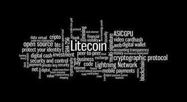 Litecoin crypto currency word cloud stock vector