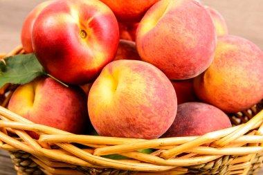 peaches basket  table