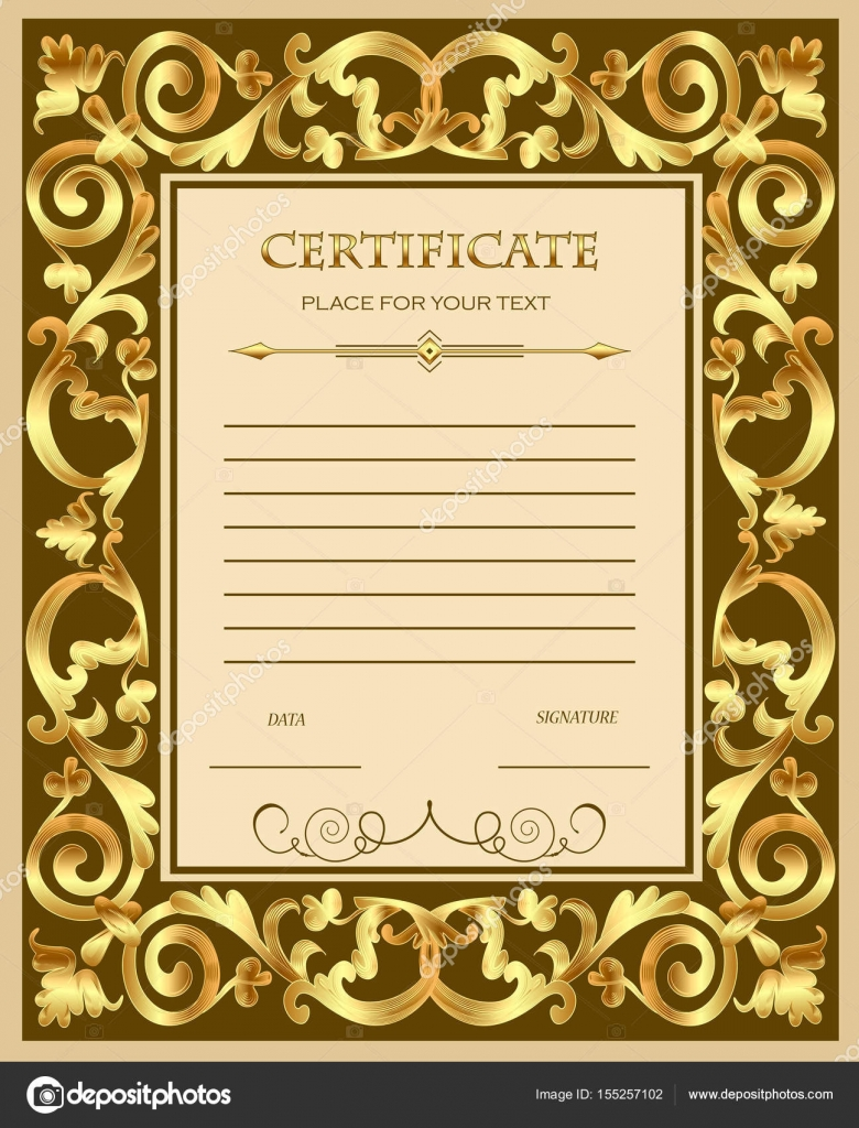 Illustration Of A Custom Certificate Template With Gold Ornament