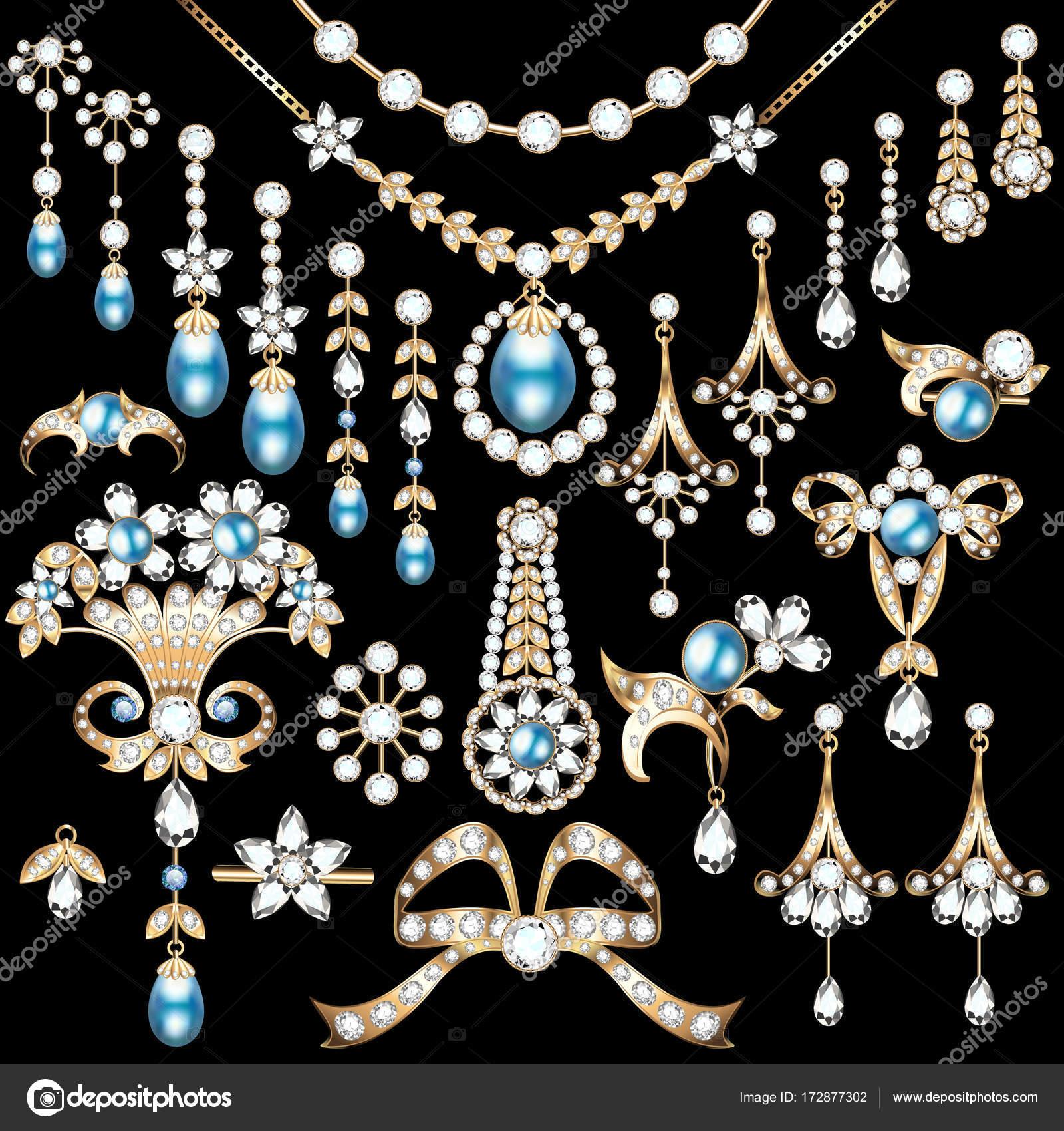 9b1065f5be32 Ilustración conjunto de joyas de oro y piedras preciosas bro ...