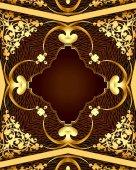 Pozadí s hnědý rám s gold(en) vzorem