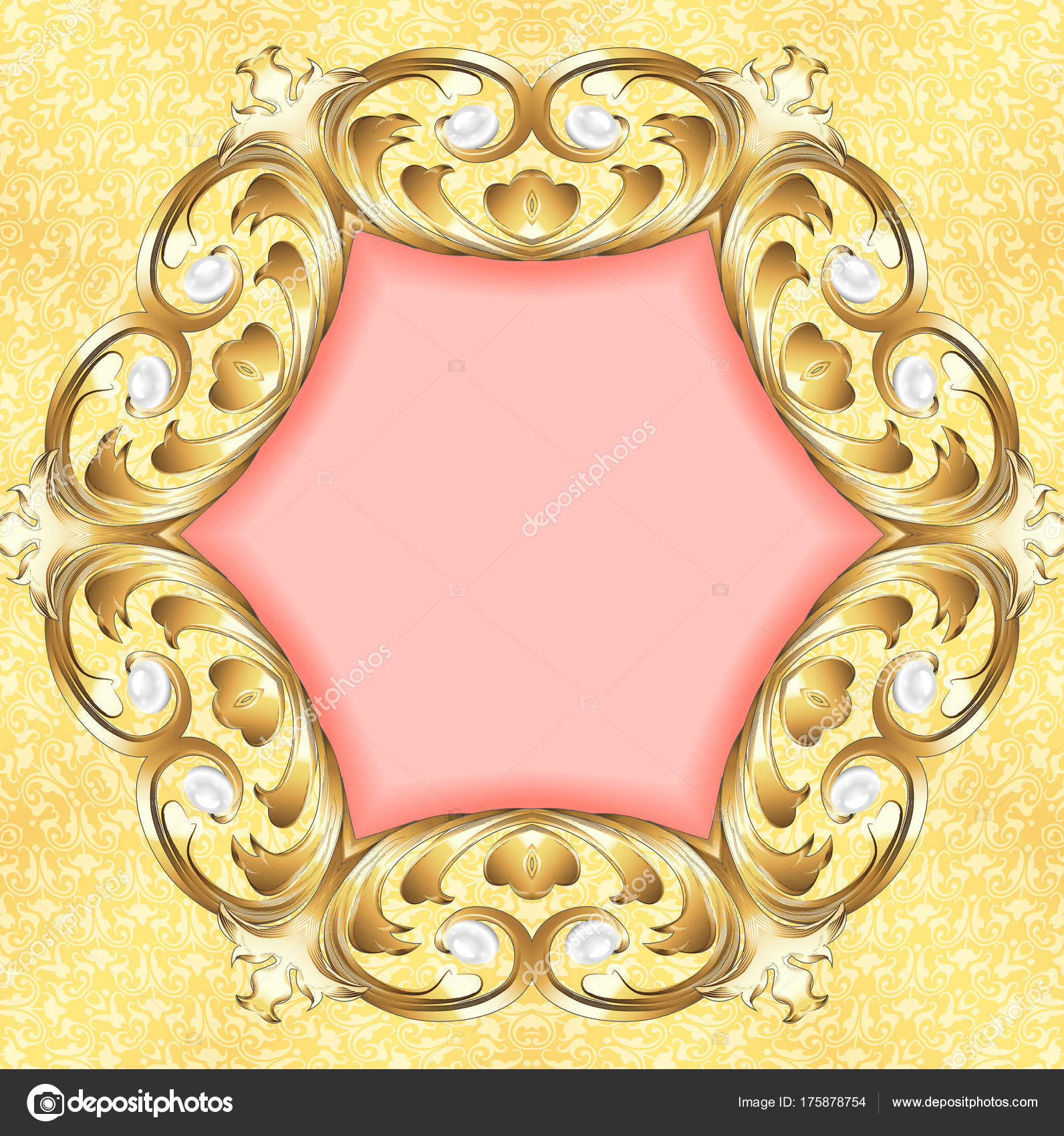 pink background with gold ornaments and pearls — Stock Photo ...