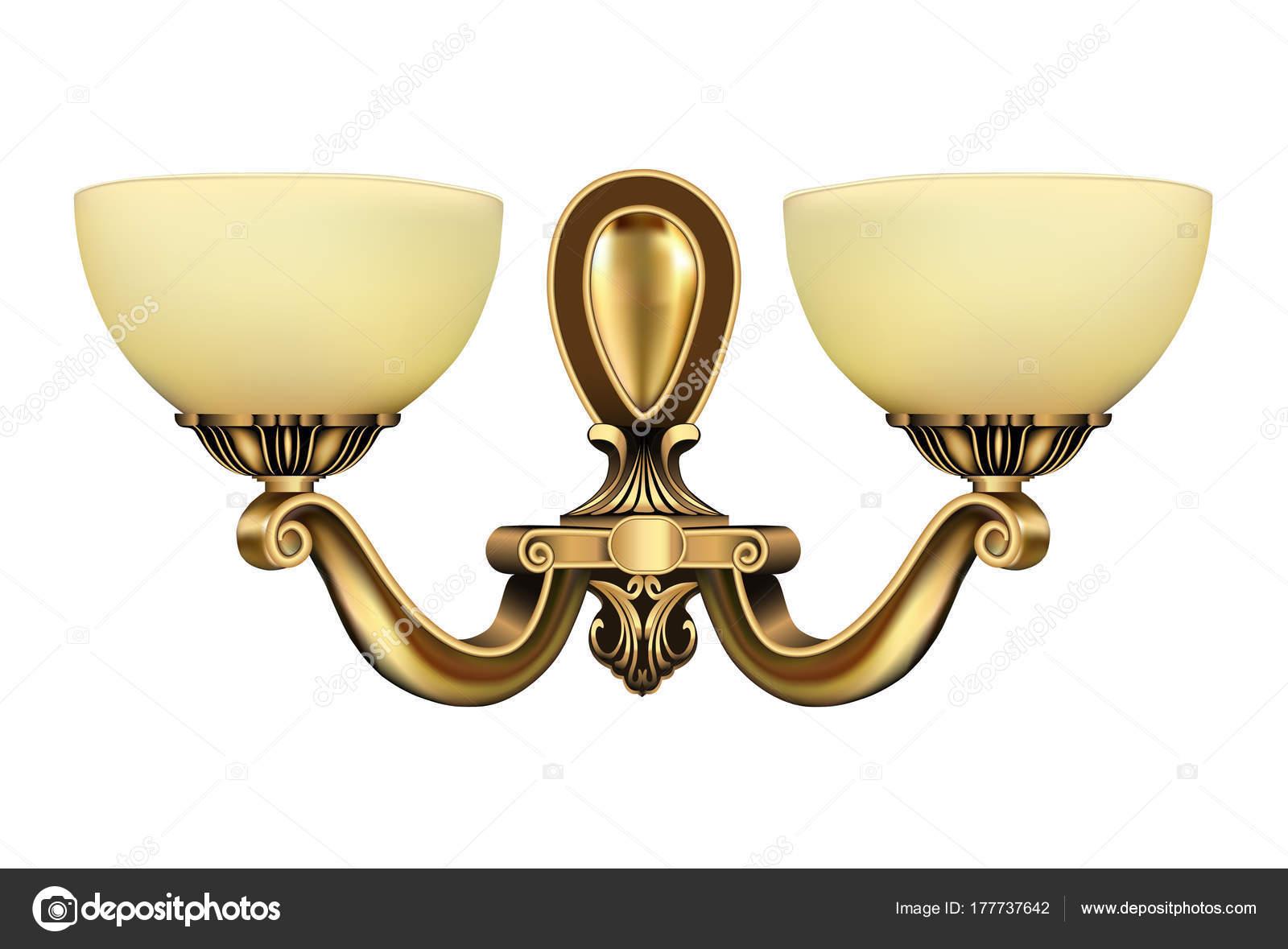 Illustrazione lampada vintage applique bronzo su priorità bassa
